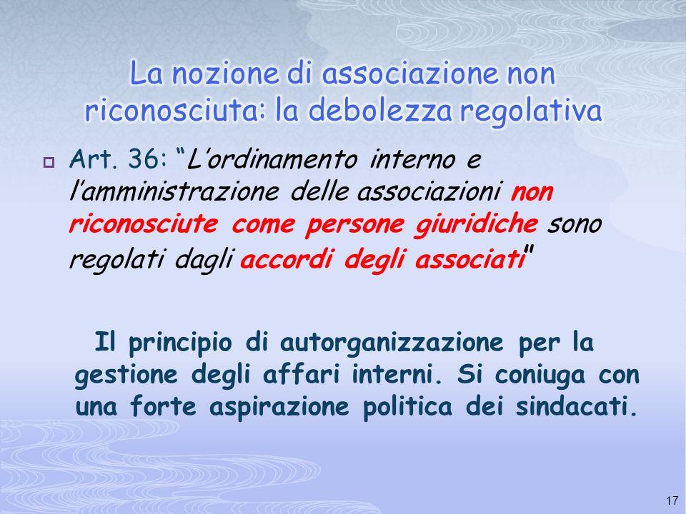 16 * La soggettività nella costituzione formale. La personalità giuridica speciale (art. 39 comma 2°) * Ai sindacati non può essere imposto altro obbl