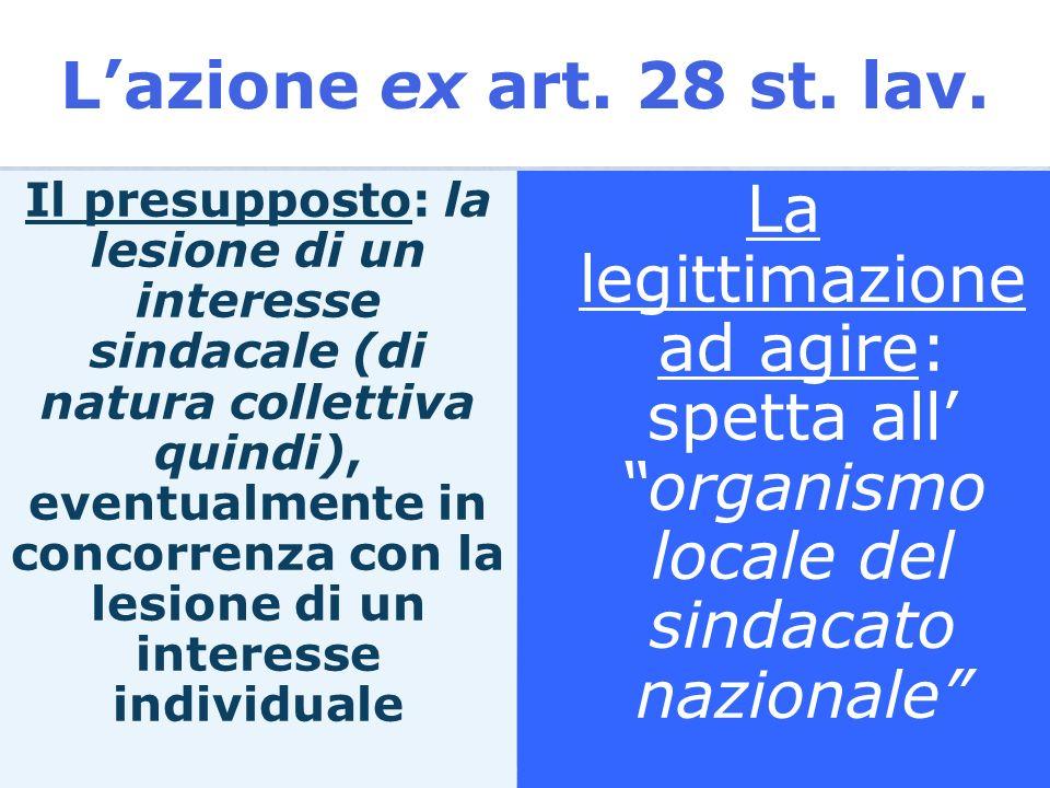 La predisposizione, da parte del legislatore statutario, di una specifica azione processuale: lart. 28 dello Statuto dei lavoratori