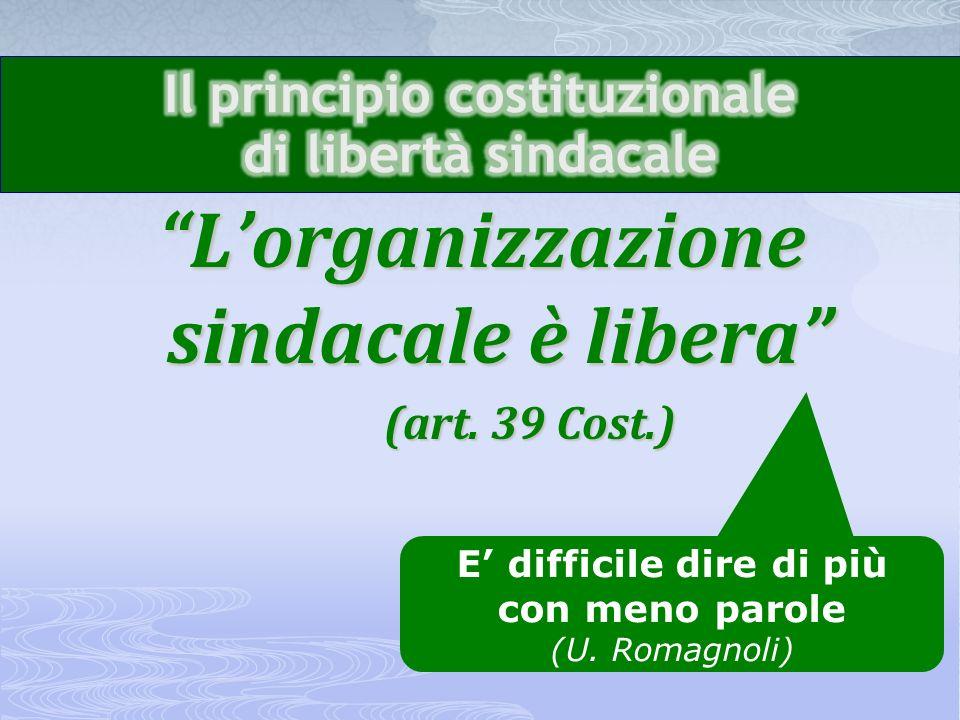 Lorganizzazione sindacale èlibera Lorganizzazione sindacale è libera (art.