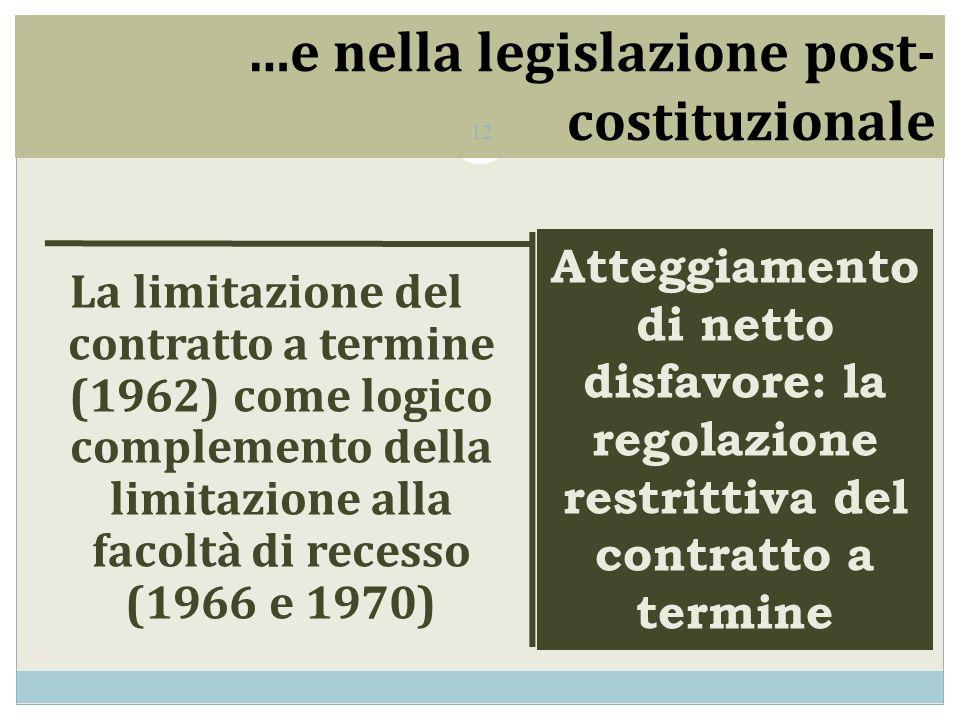 …e nella legislazione post- costituzionale La limitazione del contratto a termine (1962) come logico complemento della limitazione alla facoltà di recesso (1966 e 1970) Atteggiamento di netto disfavore: la regolazione restrittiva del contratto a termine 12
