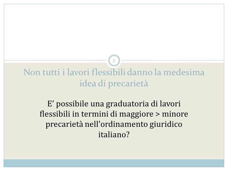 3 Non tutti i lavori flessibili danno la medesima idea di precarietà E possibile una graduatoria di lavori flessibili in termini di maggiore > minore precarietà nellordinamento giuridico italiano