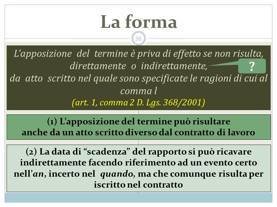 La forma L apposizione del termine è priva di effetto se non risulta, direttamente o indirettamente, da atto scritto nel quale sono specificate le ragioni di cui al comma l (art.