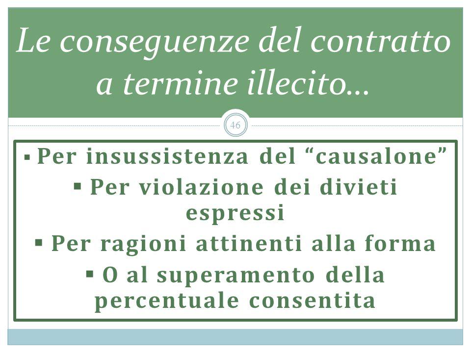 Per insussistenza del causalone Per violazione dei divieti espressi Per ragioni attinenti alla forma O al superamento della percentuale consentita Le conseguenze del contratto a termine illecito… 46