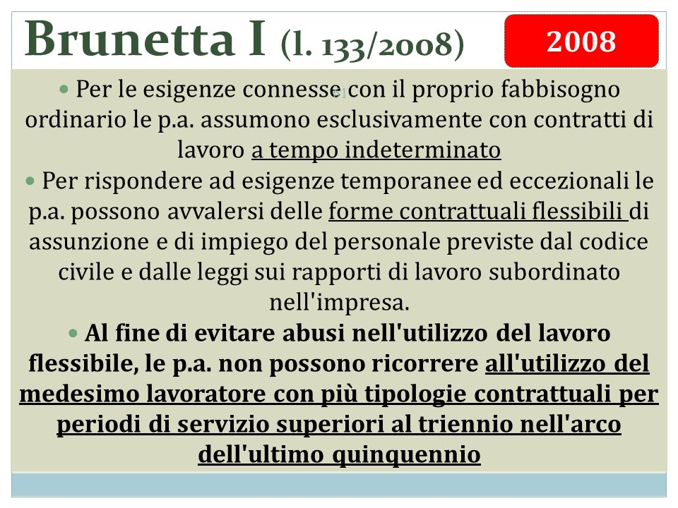 Brunetta I (l. 133/2008) Per le esigenze connesse con il proprio fabbisogno ordinario le p.a.