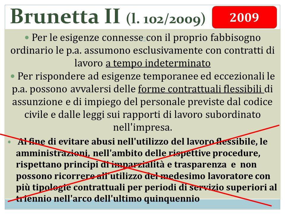 Brunetta II (l. 102/2009) Per le esigenze connesse con il proprio fabbisogno ordinario le p.a.