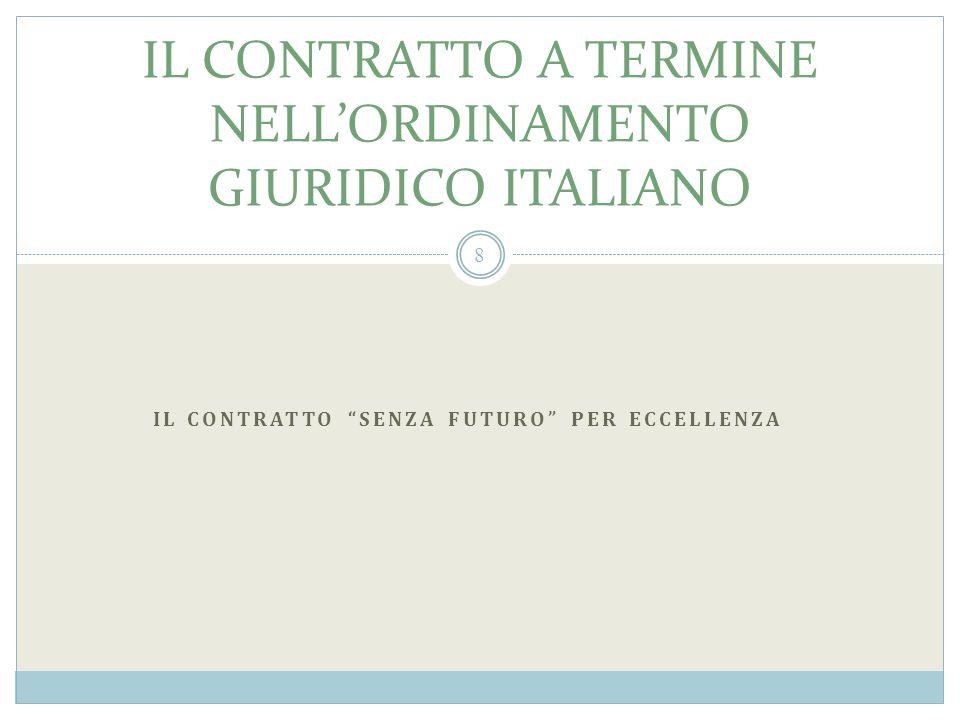 IL CONTRATTO A TERMINE NELLORDINAMENTO GIURIDICO ITALIANO IL CONTRATTO SENZA FUTURO PER ECCELLENZA 8