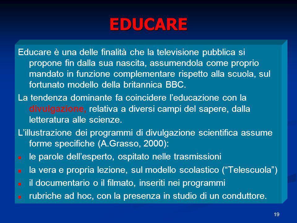 19 EDUCARE Educare è una delle finalità che la televisione pubblica si propone fin dalla sua nascita, assumendola come proprio mandato in funzione com