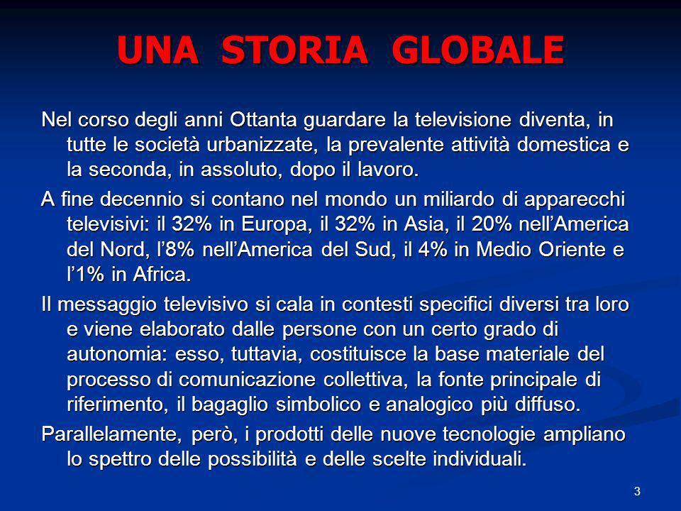 3 UNA STORIA GLOBALE Nel corso degli anni Ottanta guardare la televisione diventa, in tutte le società urbanizzate, la prevalente attività domestica e