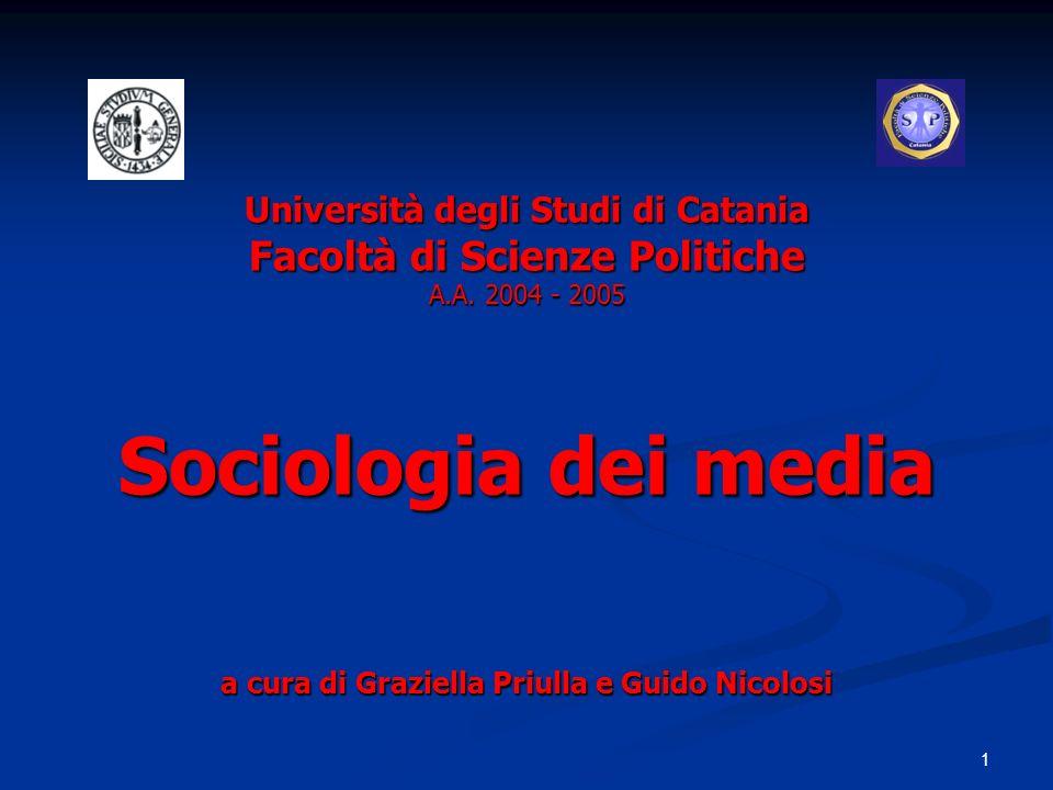 1 Università degli Studi di Catania Facoltà di Scienze Politiche A.A. 2004 - 2005 Sociologia dei media a cura di Graziella Priulla e Guido Nicolosi