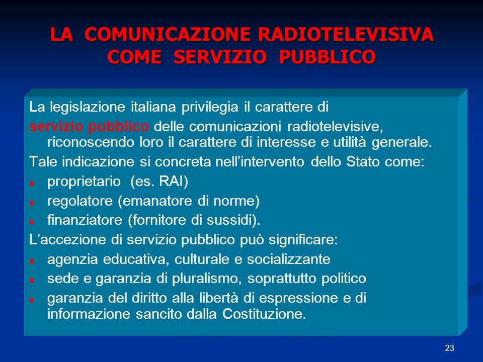 23 LA COMUNICAZIONE RADIOTELEVISIVA COME SERVIZIO PUBBLICO La legislazione italiana privilegia il carattere di servizio pubblico delle comunicazioni r