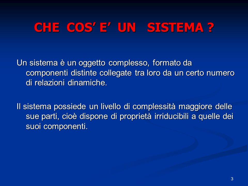 3 CHE COS E UN SISTEMA ? Un sistema è un oggetto complesso, formato da componenti distinte collegate tra loro da un certo numero di relazioni dinamich