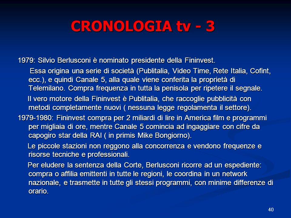 40 CRONOLOGIA tv - 3 1979: Silvio Berlusconi è nominato presidente della Fininvest. Essa origina una serie di società (Publitalia, Video Time, Rete It