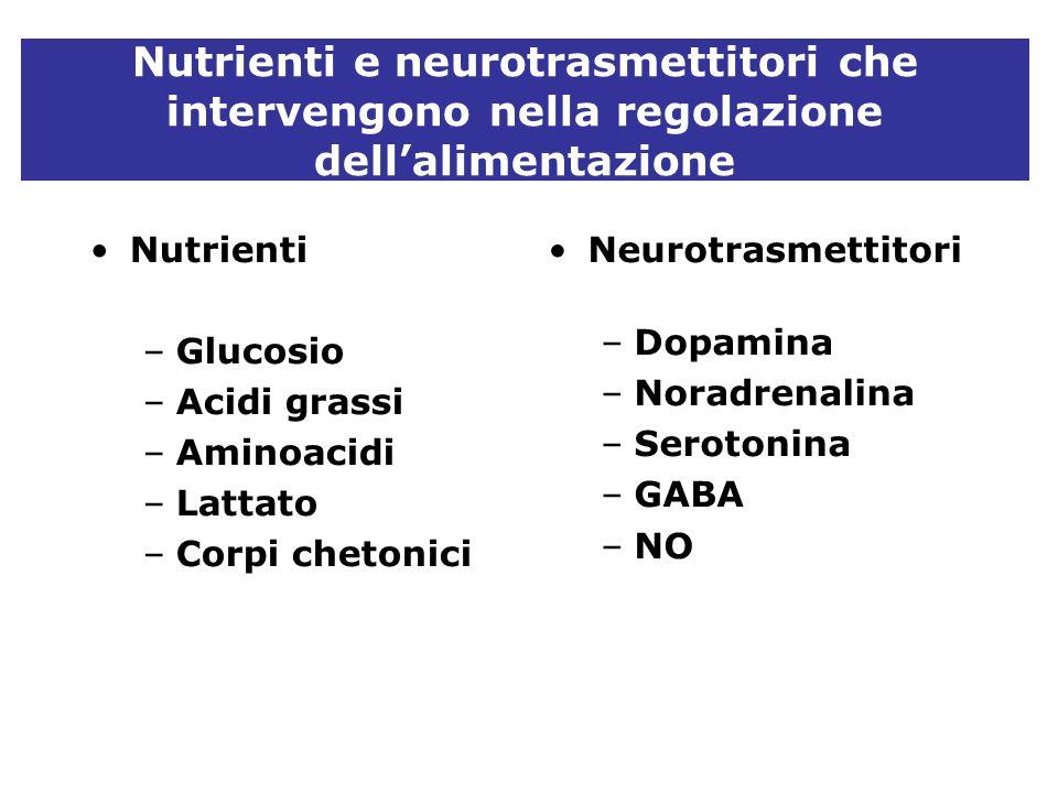Nutrienti e neurotrasmettitori che intervengono nella regolazione dellalimentazione Nutrienti –Glucosio –Acidi grassi –Aminoacidi –Lattato –Corpi chet
