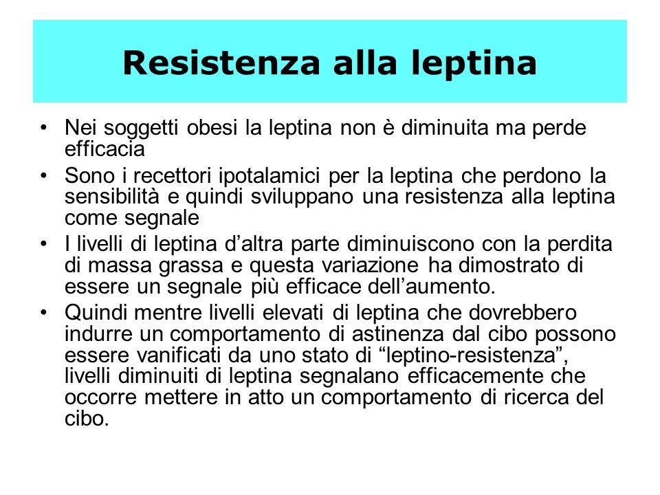 Resistenza alla leptina Nei soggetti obesi la leptina non è diminuita ma perde efficacia Sono i recettori ipotalamici per la leptina che perdono la se
