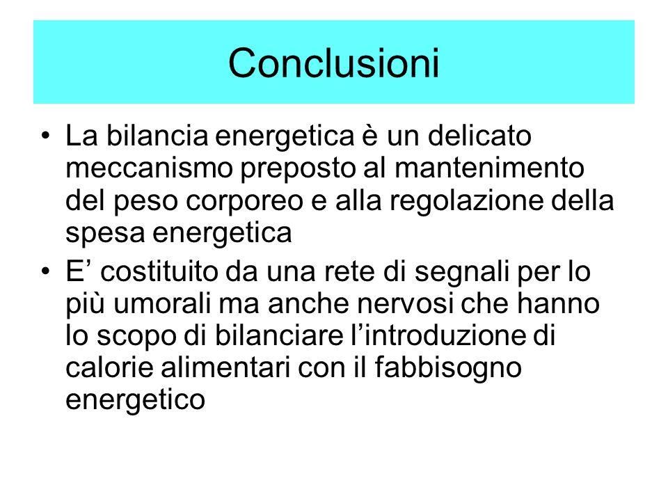 Conclusioni La bilancia energetica è un delicato meccanismo preposto al mantenimento del peso corporeo e alla regolazione della spesa energetica E cos