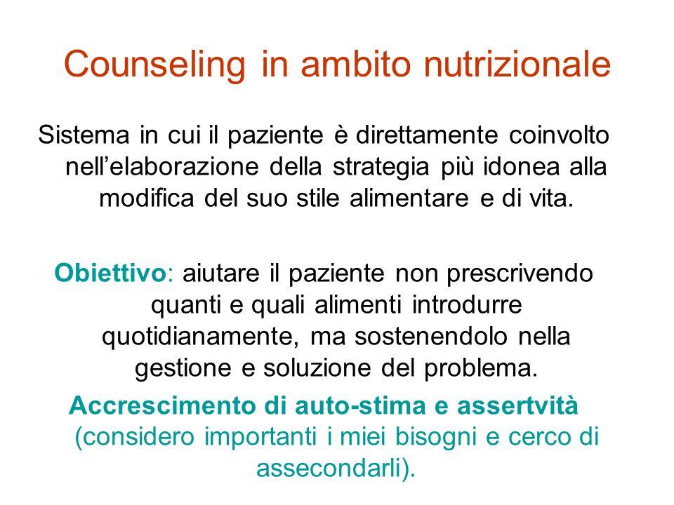 Counseling in ambito nutrizionale Sistema in cui il paziente è direttamente coinvolto nellelaborazione della strategia più idonea alla modifica del su