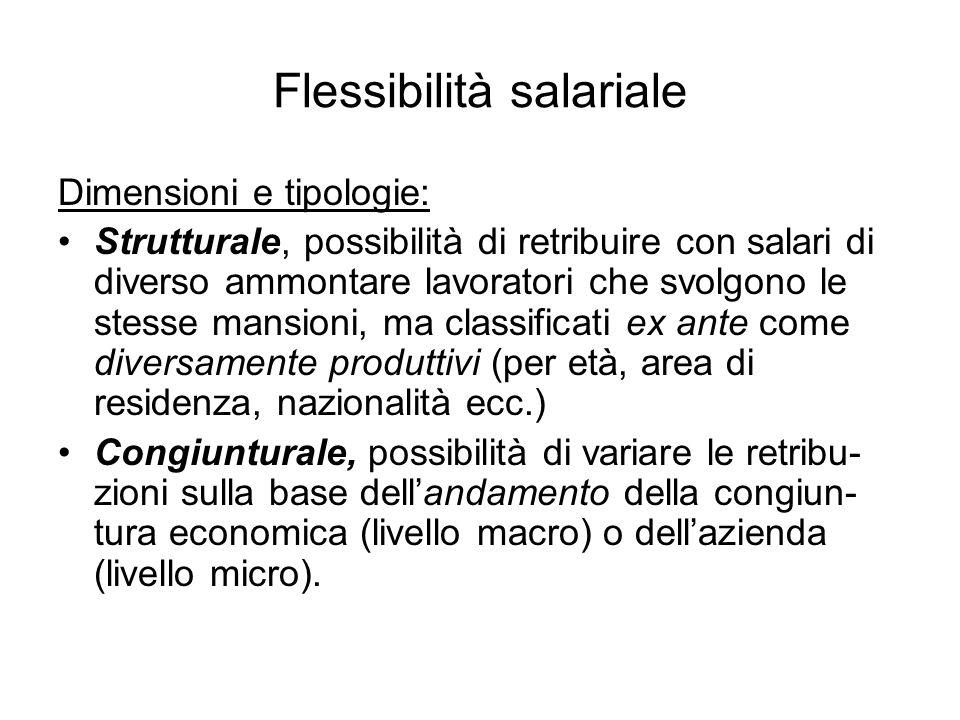 Flessibilità salariale Dimensioni e tipologie: Strutturale, possibilità di retribuire con salari di diverso ammontare lavoratori che svolgono le stess
