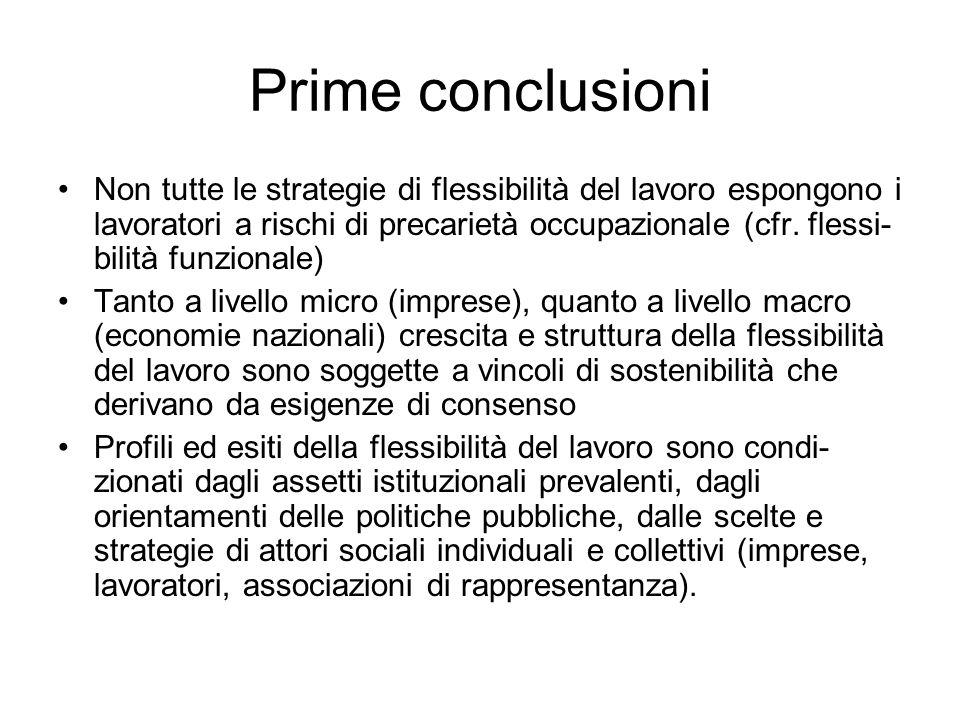 Prime conclusioni Non tutte le strategie di flessibilità del lavoro espongono i lavoratori a rischi di precarietà occupazionale (cfr. flessi- bilità f