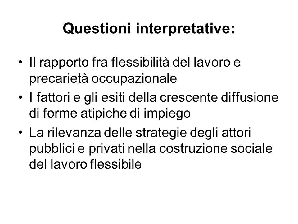 Questioni interpretative: Il rapporto fra flessibilità del lavoro e precarietà occupazionale I fattori e gli esiti della crescente diffusione di forme