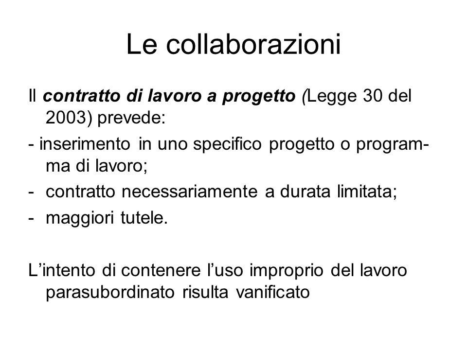 Le collaborazioni Il contratto di lavoro a progetto (Legge 30 del 2003) prevede: - inserimento in uno specifico progetto o program- ma di lavoro; -con