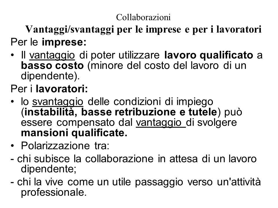 Collaborazioni Vantaggi/svantaggi per le imprese e per i lavoratori Per le imprese: Il vantaggio di poter utilizzare lavoro qualificato a basso costo