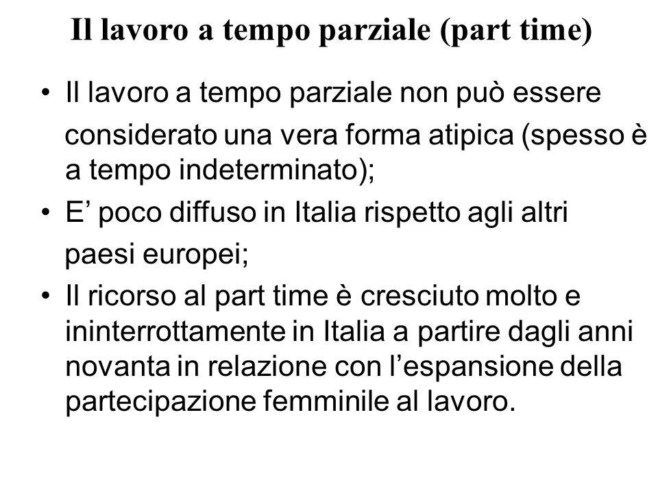 Il lavoro a tempo parziale (part time) Il lavoro a tempo parziale non può essere considerato una vera forma atipica (spesso è a tempo indeterminato);