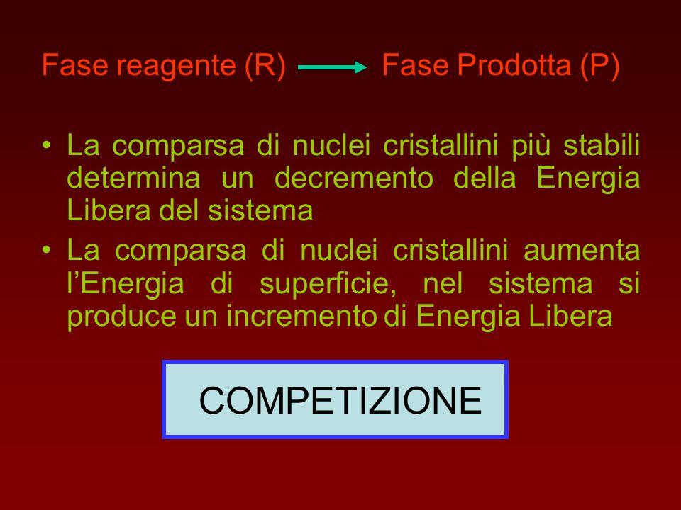 Fase reagente (R) Fase Prodotta (P) La comparsa di nuclei cristallini più stabili determina un decremento della Energia Libera del sistema La comparsa