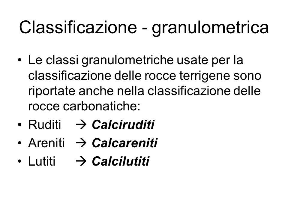 Classificazione - granulometrica Le classi granulometriche usate per la classificazione delle rocce terrigene sono riportate anche nella classificazio