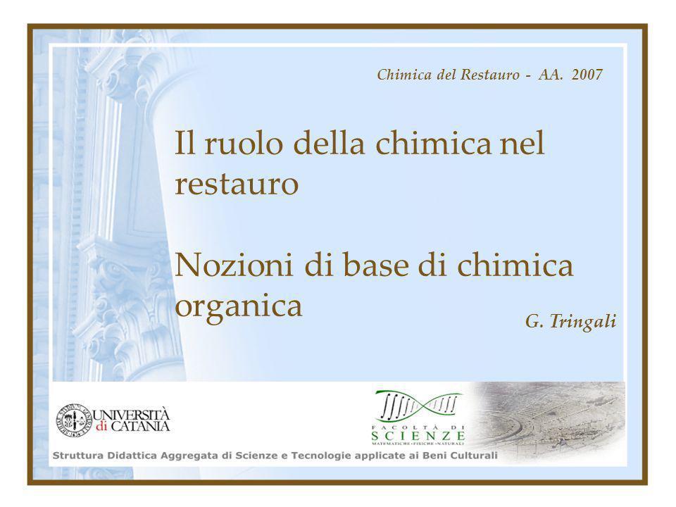 Il ruolo della chimica nel restauro Nozioni di base di chimica organica Chimica del Restauro - AA. 2007 G. Tringali