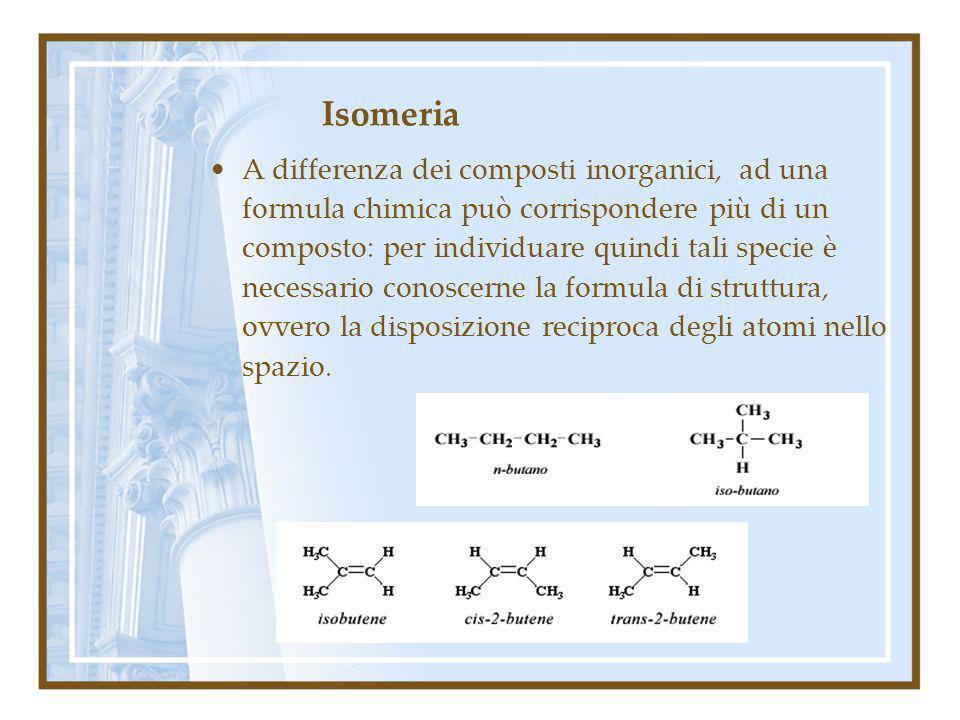 Isomeria A differenza dei composti inorganici, ad una formula chimica può corrispondere più di un composto: per individuare quindi tali specie è neces