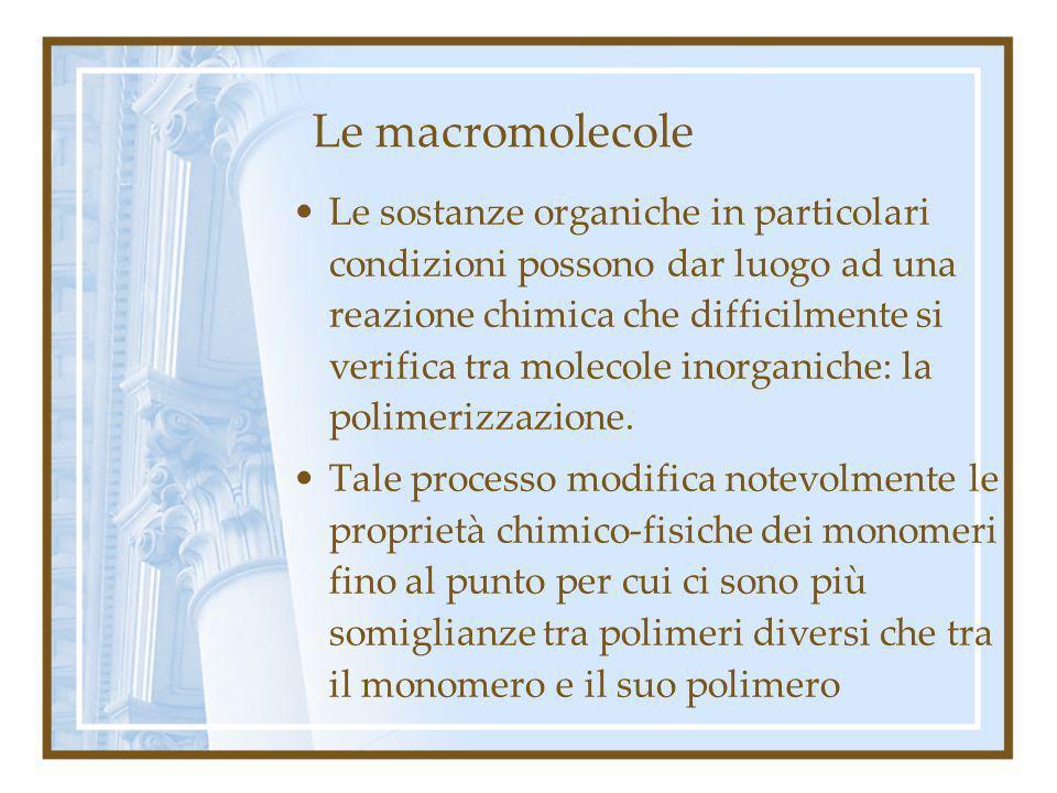 Le macromolecole Le sostanze organiche in particolari condizioni possono dar luogo ad una reazione chimica che difficilmente si verifica tra molecole