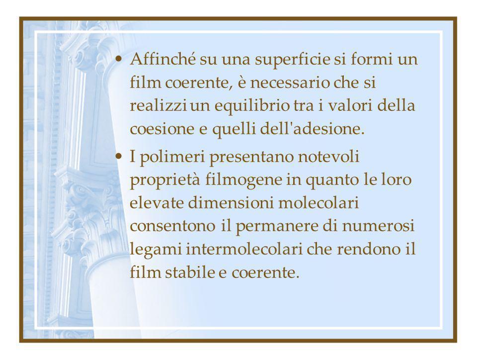 Affinché su una superficie si formi un film coerente, è necessario che si realizzi un equilibrio tra i valori della coesione e quelli dell'adesione. I