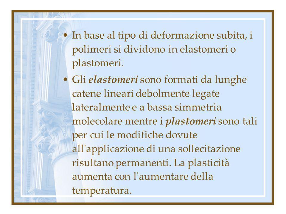 In base al tipo di deformazione subita, i polimeri si dividono in elastomeri o plastomeri. Gli elastomeri sono formati da lunghe catene lineari debolm
