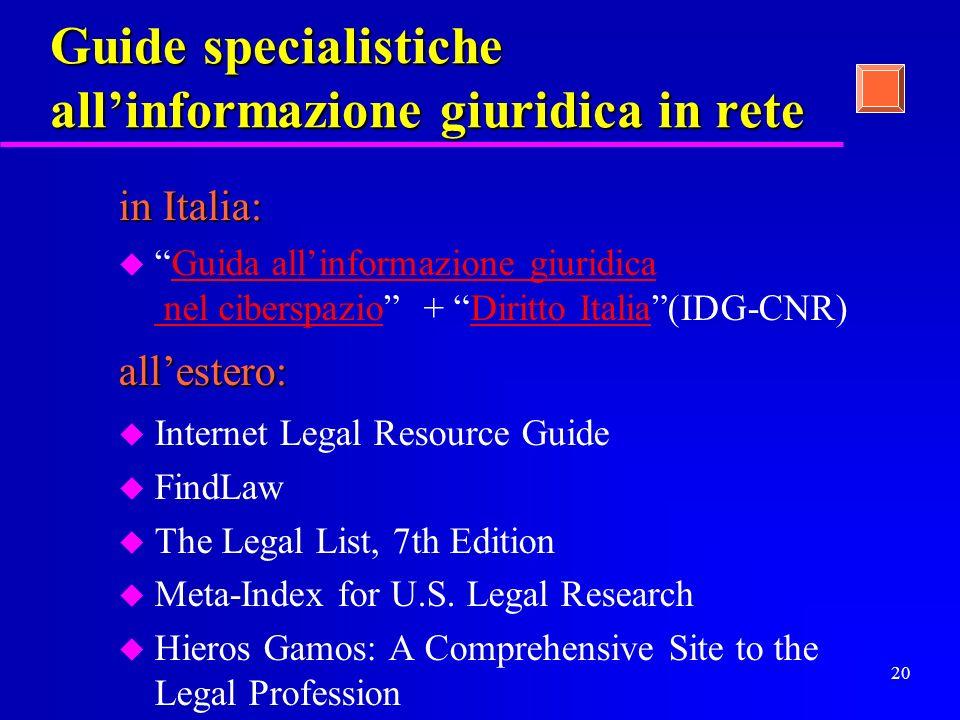 19 Servizi vari ( guide, annuari, motori di ricerca,...