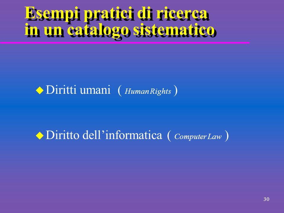 29 Esempi pratici di ricerca a testo libero u Guida allinformazione giuridica nel ciberspazio ( citazioni...