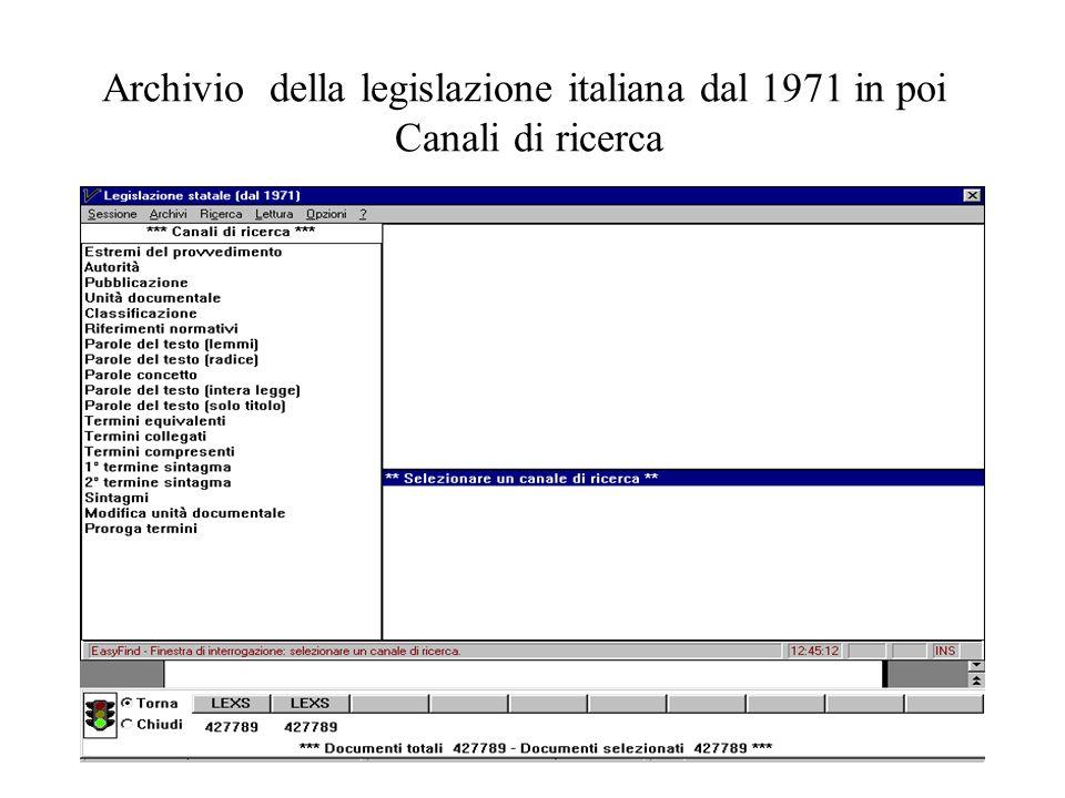 4 Archivio della legislazione italiana dal 1971 in poi Canali di ricerca