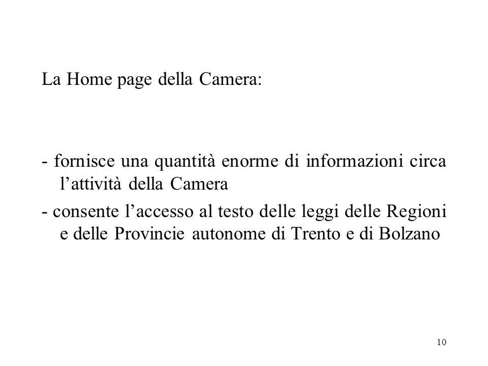 10 La Home page della Camera: - fornisce una quantità enorme di informazioni circa lattività della Camera - consente laccesso al testo delle leggi delle Regioni e delle Provincie autonome di Trento e di Bolzano
