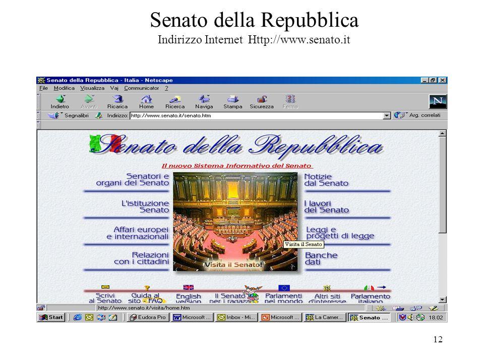 12 Senato della Repubblica Indirizzo Internet Http://www.senato.it