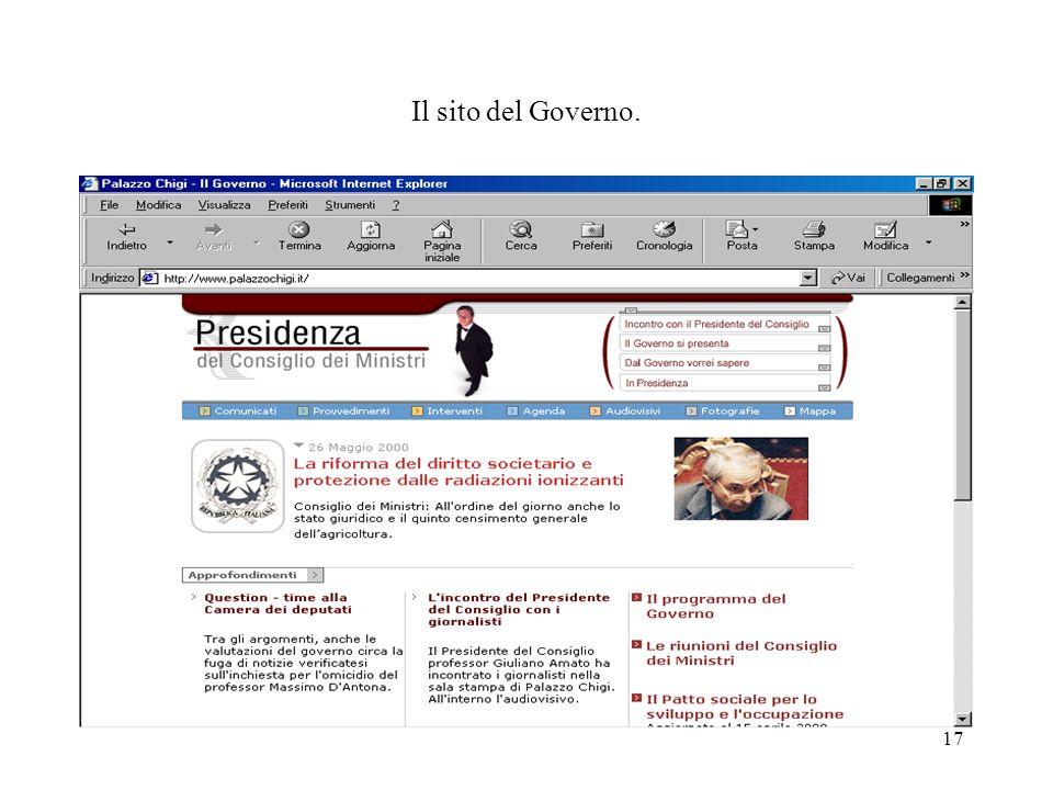 17 Il sito del Governo.