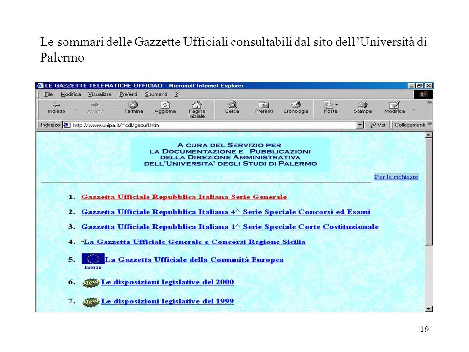 19 Le sommari delle Gazzette Ufficiali consultabili dal sito dellUniversità di Palermo