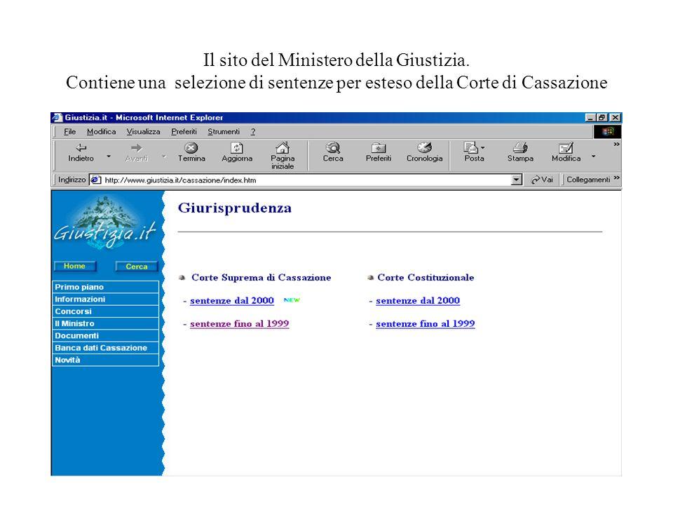 26 Il sito del Ministero della Giustizia. Contiene una selezione di sentenze per esteso della Corte di Cassazione
