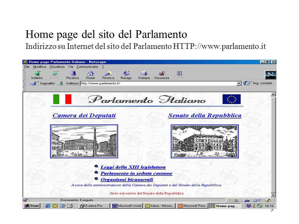 3 Home page del sito del Parlamento Indirizzo su Internet del sito del Parlamento HTTP://www.parlamento.it