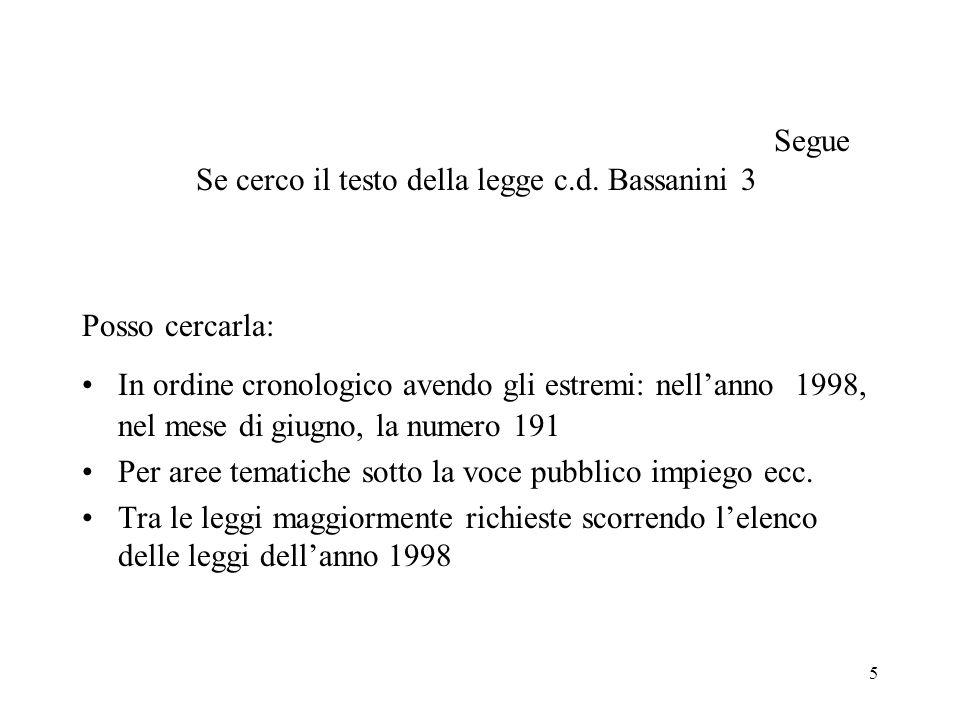 5 Segue Se cerco il testo della legge c.d. Bassanini 3 Posso cercarla: In ordine cronologico avendo gli estremi: nellanno 1998, nel mese di giugno, la