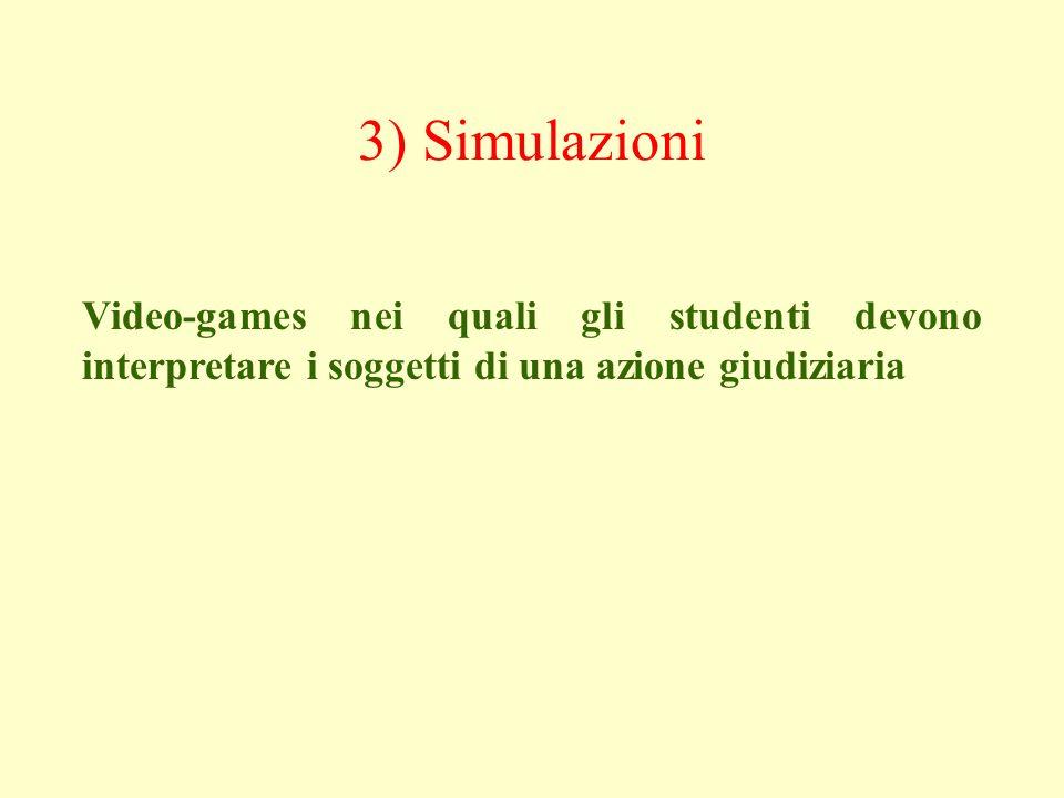 3) Simulazioni Video-games nei quali gli studenti devono interpretare i soggetti di una azione giudiziaria