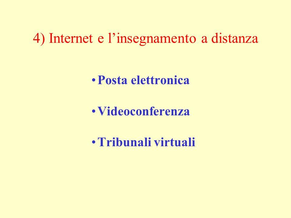 4) Internet e linsegnamento a distanza Posta elettronica Videoconferenza Tribunali virtuali