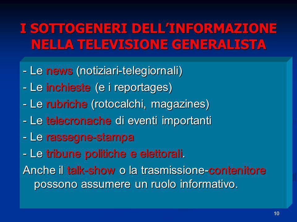 10 I SOTTOGENERI DELLINFORMAZIONE NELLA TELEVISIONE GENERALISTA - Le news (notiziari-telegiornali) - Le inchieste (e i reportages) - Le rubriche (roto