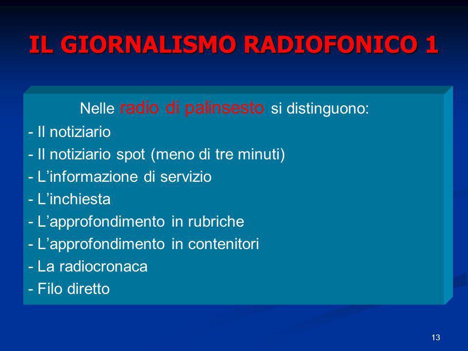 13 IL GIORNALISMO RADIOFONICO 1 Nelle radio di palinsesto si distinguono: - Il notiziario - Il notiziario spot (meno di tre minuti) - Linformazione di servizio - Linchiesta - Lapprofondimento in rubriche - Lapprofondimento in contenitori - La radiocronaca - Filo diretto