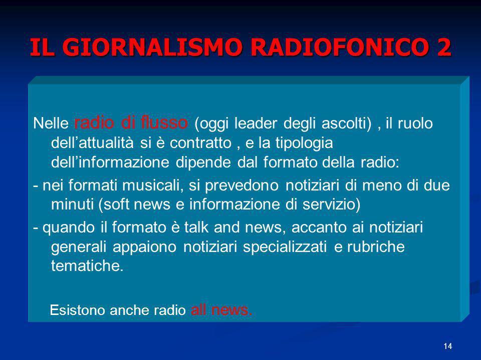 14 IL GIORNALISMO RADIOFONICO 2 Nelle radio di flusso (oggi leader degli ascolti), il ruolo dellattualità si è contratto, e la tipologia dellinformazi