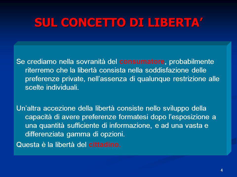 4 SUL CONCETTO DI LIBERTA Se crediamo nella sovranità del consumatore, probabilmente riterremo che la libertà consista nella soddisfazione delle prefe
