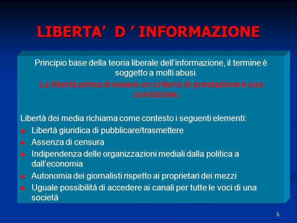5 LIBERTA D INFORMAZIONE. Principio base della teoria liberale dellinformazione, il termine è soggetto a molti abusi. La libertà prima di essere un cr